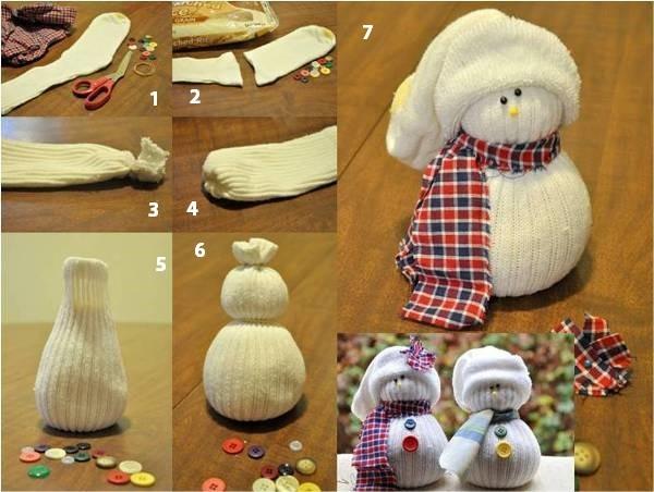 Как сделать снеговика из носка с фото