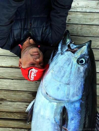 OLTA - Oltaya 130 kiloluk orkinos takıldı