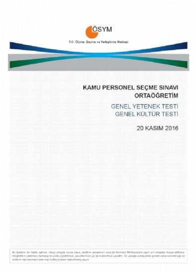 KPSS Ortaöğretim Sınav Soru Ve Cevapları...