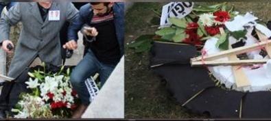 Şehit Cenazesinde o partinin çelengini parçaladılar