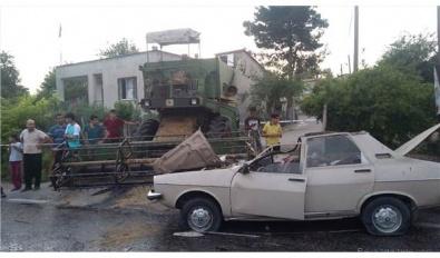 Otomobil biçerdöverle çarpıştı: 1 ölü 3 yaralı