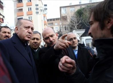 Erdoğan, arama kurtarma çalışmalarının devam ettiği Kartal'daki enkaz alanına geldi