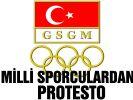 Milli sporcular, GSGM önünde eylem yaptı...