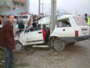 Ereğli'de Otomobil Direğe Çarptı: 1 Yaralı