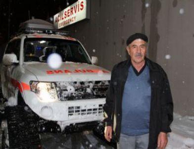 Mide Kanaması Geçiren Kadının İmdadına Kar Paletli Ambulans Yetişti