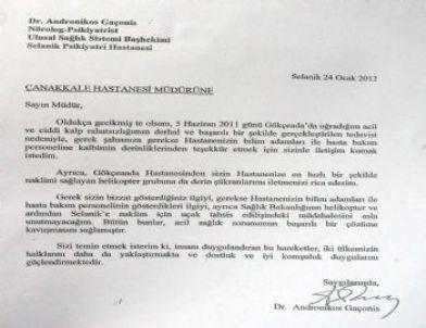 Yunan Doktordan Türk Doktorlara Teşekkür Mektubu