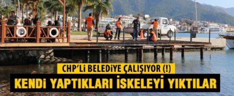 Belediye kendi yaptığı iskeleyi kaçak diye yıktı