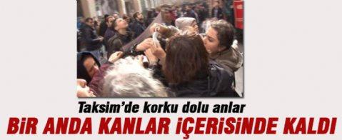 Taksim'de Eylemci Kadının Kafasına Kalas Düştü