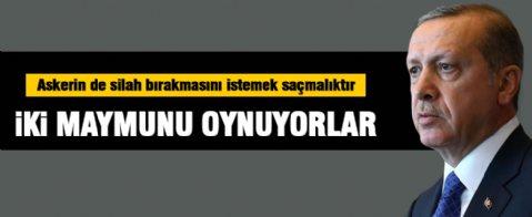 Cumhurbaşkanı Erdoğan: Asker de silah bıraksın deniyorsa bu saçmalıktır