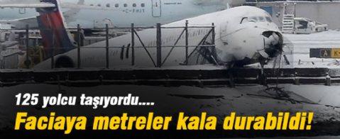New York'ta bir uçak pistten çıktı