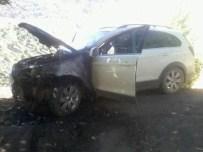TAŞKALE - Adıyaman'da Park Halindeki Otomobil Alev Aldı