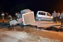 Traktör İle Otomobil Kafa Kafaya Çarpıştı