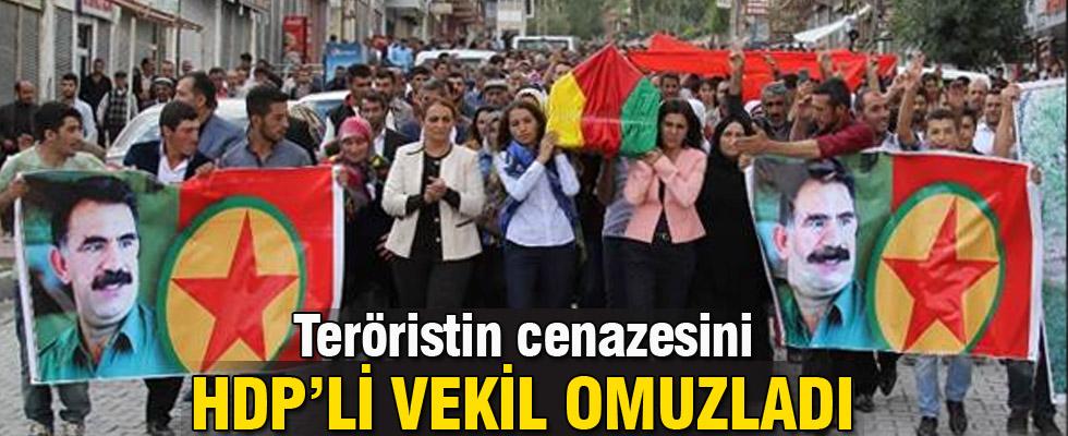 Kadın teröristin cenazesini HDP'li vekil omuzladı
