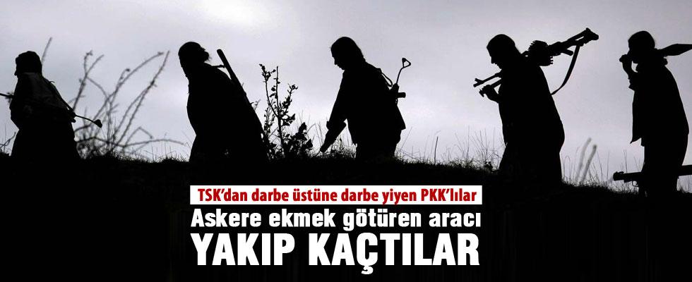 PKK'lılar, askere ekmek götüren aracı yaktı