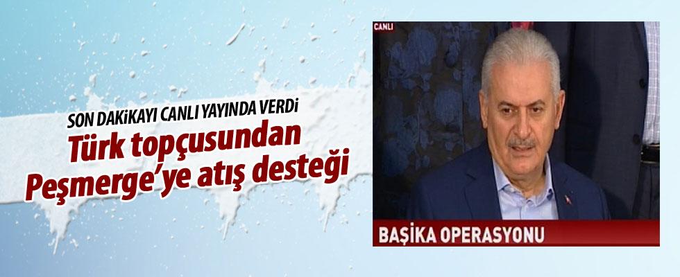 Başika'da Türk topçusundan Peşmerge'ye atış desteği