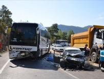 ALI KARAKOÇ - Yolcu otobüsü ile otomobil çarpıştı!