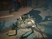 DADAŞKENT - 3 Kişinin Yaralandığı Kazada Otomobilin Kopan Motoru 10 Metre İleriye Fırladı