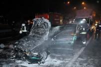 ANTALYASPOR - Antalya'da Zincirleme Kazada Bir Araç Alev Topuna Döndü