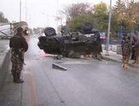 Başkent'te zırhlı araç üst geçitten düştü!