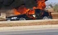 TAZİYE ZİYARETİ - Alev Topuna Dönen Otomobilden Hafif Yanıklarla Kurtuldular