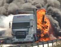 YANGıN YERI - TEM'de TIR yangını: Trafiğe kapandı