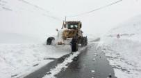İŞ MAKİNESİ - (ÖZEL HABER) Van Bahçesaray Yolunda Karla Mücadele Çalışmaları Başladı