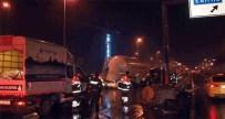 İstanbul'da Bariyerlere Çarpan Beton Tankeri Yan Yattı