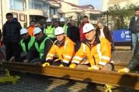 HANLı - Tramvay Hattının İlk Rayları Monte Edildi
