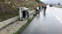 HACıHAMZA - Ehliyetsiz Sürücünün Kullandığı Otomobil Takla Attı