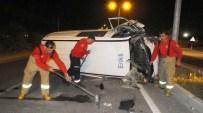 Direğe Çarpan Araçta Sıkışan Sürücüyü İtfaiye Kurtardı