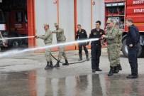 İtfaiyeden Askerlere Uygulamalı Yangın Eğitimi