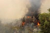 AHŞAP EV - Kumluca'da Orman Yangını Açıklaması 4 Ev Yandı