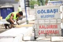 KALDIRIM ÇALIŞMASI - Gölbaşı'nda Kaldırımsız Sokak Kalmayacak