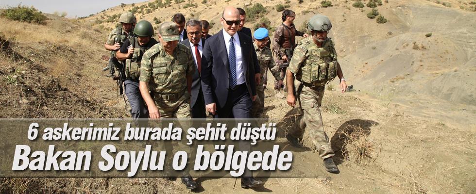İçişleri Bakanı Süleyman Soylu 6 Askerimizin Şehit Düştüğü Bölgede
