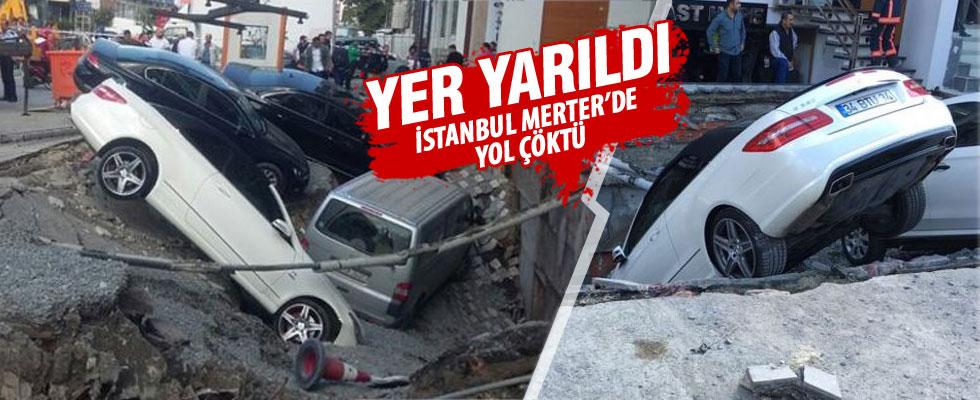 İstanbul Merter'de yol çöktü
