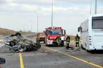 GÜVENLİK ÖNLEMİ - Otobüsle çarpışan otomobil takla attı: 1 ölü, 4 yaralı