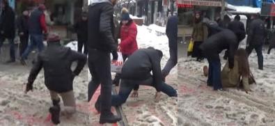 Vatandaşların buzlu yolla imtihanı