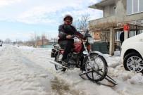 EDİRNE - Karda İşe Gidemeyince Kendi Kızak Motorunu Yaptı