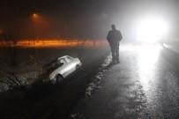 Buzlu Yolda Trafik Kazası Açıklaması 1 Yaralı