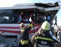Rize'de TIR ile yolcu minibüsü çarpıştı