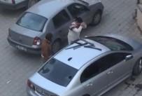 GÜVENLİK KAMERASI - Kocasına kızdı, öfkesini arabadan çıkardı
