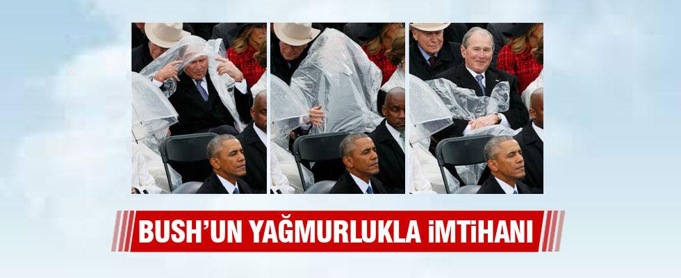 Bush'un yağmurlukla imtihanı!