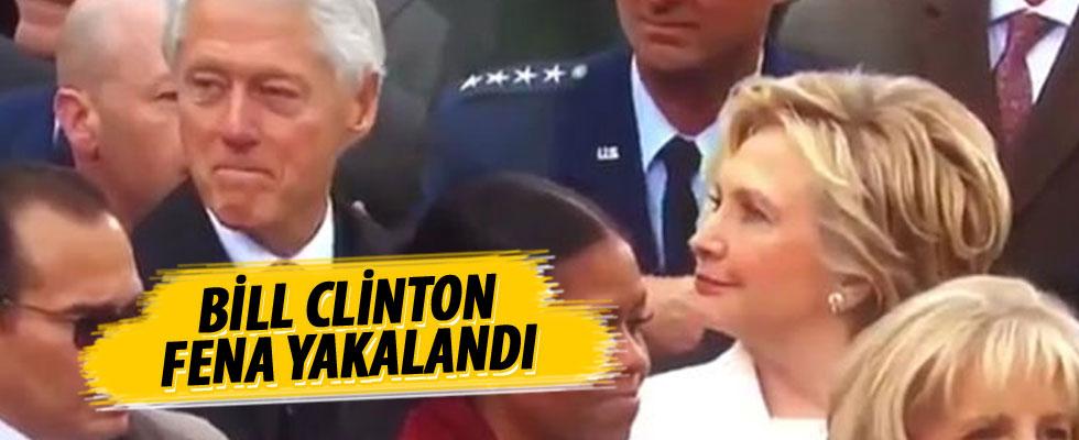 Hillary Clinton'ın eşi Bill'in bakışlarını yakalaması olay oldu