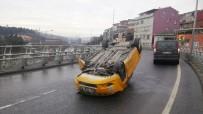 OKMEYDANı - Taksi Bariyerlere Çarpıp Takla Attı Açıklaması 1 Yaralı