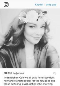 Lindsay Lohan, Türkiye için dua istedi