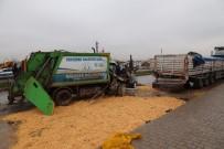 Çöp Kamyonu İle Park Halindeki Tırın Karıştığı Kazada Temizlik İşçisinin Kolu Koptu