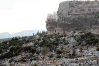 DİNAMİT - Yol Güvenliğini Tehlikeye Atan Kireçtaşı Patlatıldı