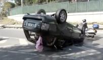 MASLAK - Sarıyer'de Takla Atan Otomobilin Sürücüsü Kazadan Yara Almadan Kurtuldu