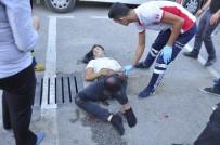Manavgat'ta Kaza Yapan Motosiklet Yandı