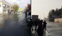 SAHİL YOLU - İstanbul'da Patlayan Su Borusu Caddeyi Göle Çevirdi
